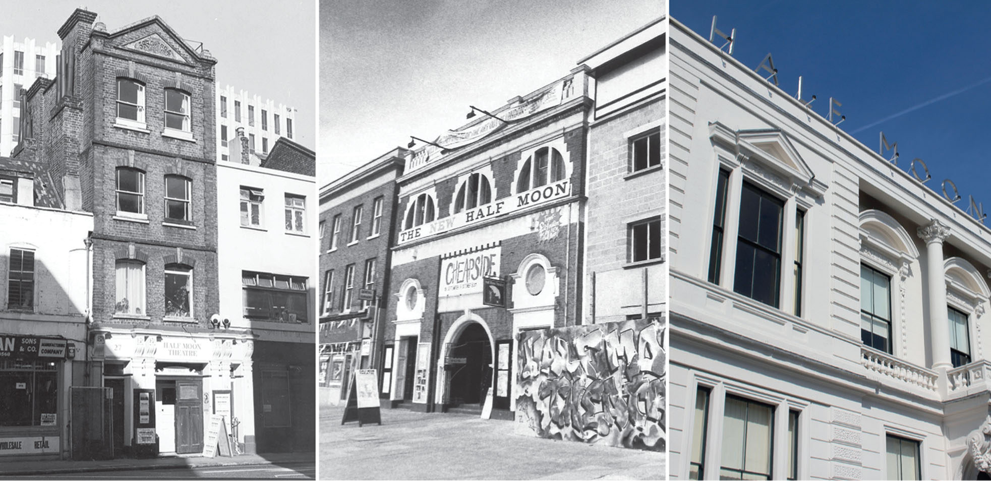 Half Moon Theatre: (L-R) Alie Street, Mile End Road (photo by Conrad Blakemore), White Horse Road