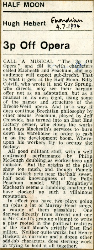 3p off Opera Review - Hugh Herbert, The Guardian, 4 Jul 1974