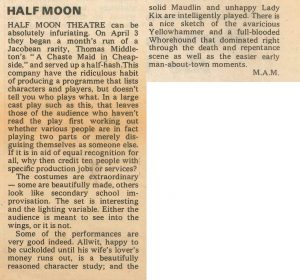 A Chaste Maid in Cheapside - M.A.M, The Stage, 12 April 1973