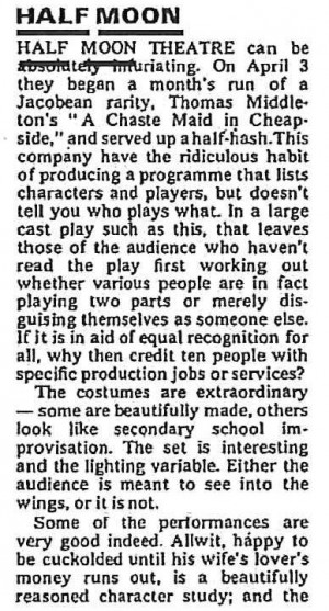 A Chaste Maid in Cheapside - The Stage, 12 April 1973