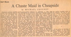 A Chaste Maid in Cheapside - review by Michael Coveney