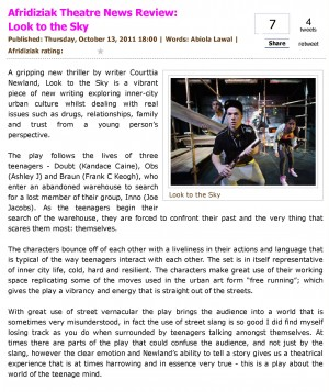 Abiola Lawal, Afridiziak Theatre News, 13 October 2011