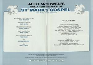 Alex McCowen's Solo Performance of St Mark's Gospel programme (4)
