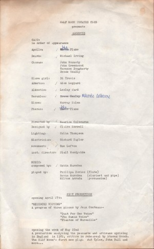 Programme from the archive of Performances of Greek and Roman Drama (APGRD), www.apgrd.ox.ac.uk