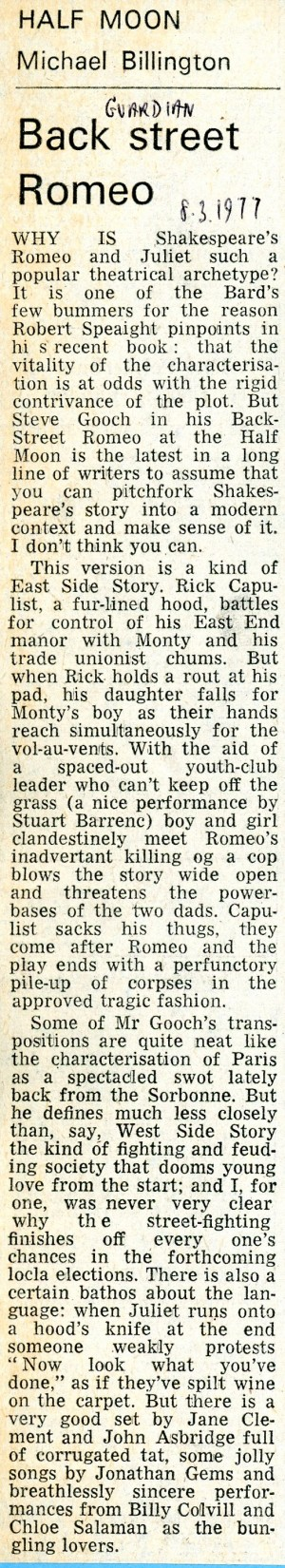 Backstreet Romeo Review - Michael Billington, The Guardian, 8th Mar, 1977.