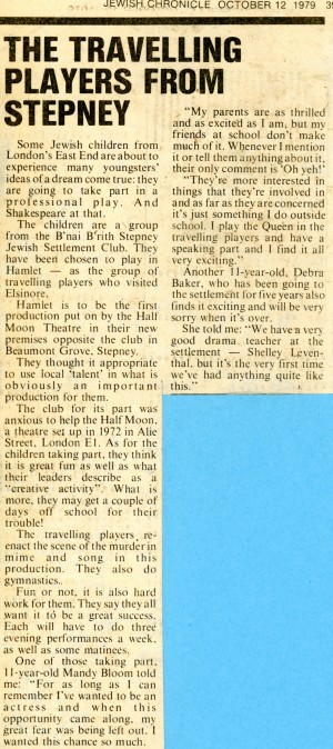 Children performing in Hamlet Article - Jewish Chronicle, 12th Oct, 1979.