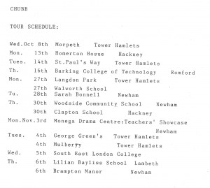 Chubb Tour Schedule