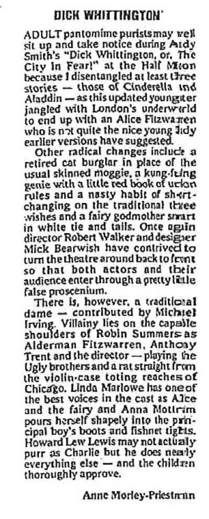 Dick Whittington - Anne Morley-Priestman, The Stage, 30 Dec 1977