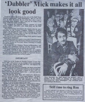 Dick Whittington- article about Mick Bearwish, East London Advertiser, 30 Dec 1977