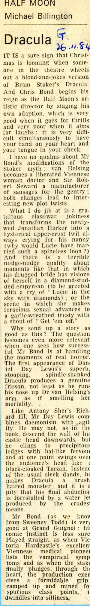 Dracula Review - Michael Billington - The Guardian - 26th Nov 1984