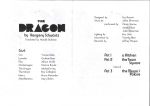 Dragon, The - programme inner and back of poster
