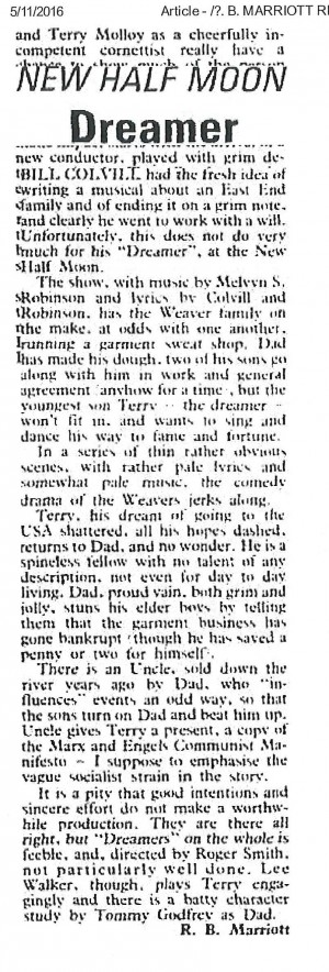 Dreamer News Review - R.B Marriott, The Stage, 13 Nov 1980