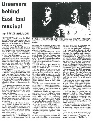 Dreamer News Review - Steve Absalom, The Stage, 13 Nov 1980