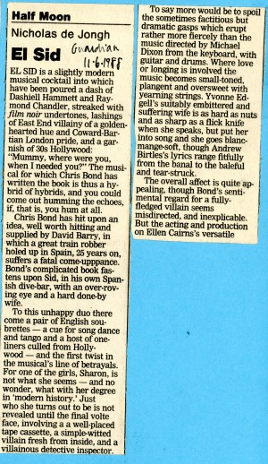 El Sid Review - Nicholas de Jongh - The Guardian - 11th Jul 1988