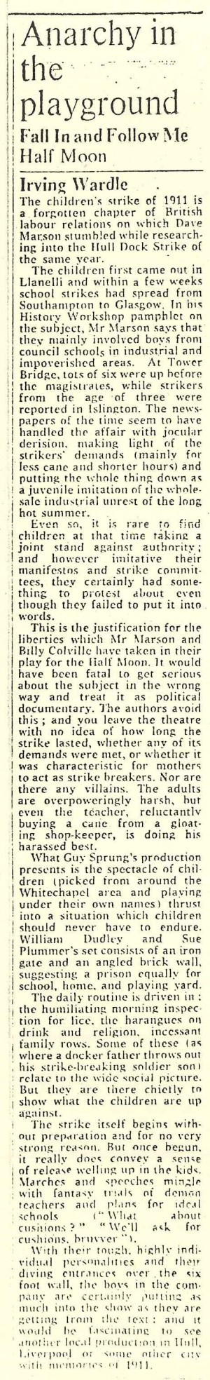 Fall In and Follow Me - The Times review by Irving Wardle June 1973