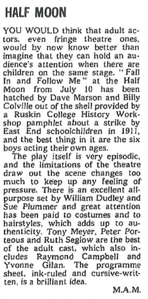 Fall in and Follow Me - M.A.M, The Stage, 19 Jul 1973