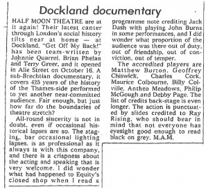 M.A.M, The Stage, 1 November 1973