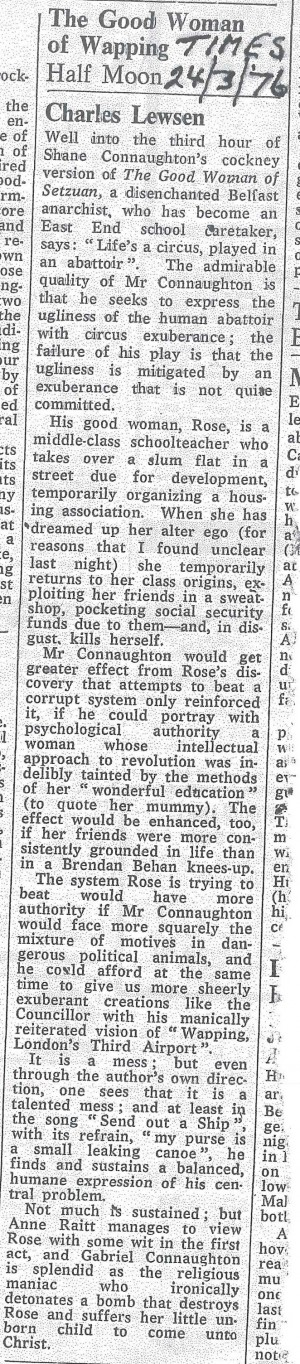 d Woman of Wapping Review - Charles Lewsen, The Times, 24 March 1976