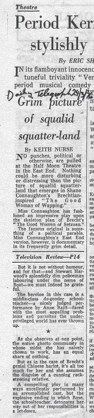 Good Woman of Wapping Review - Keith Nurse, The Daily Telegraph, 24 March 1976