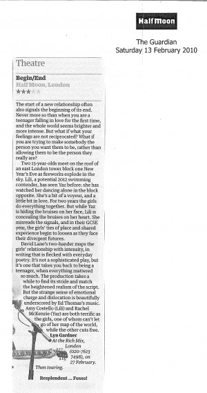 Lyn Gardner, The Guardian, 13 February 2010