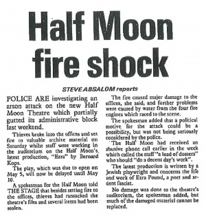News story on arson attack during Ezra, Steve Absalom, The Stage, 7 May 1981