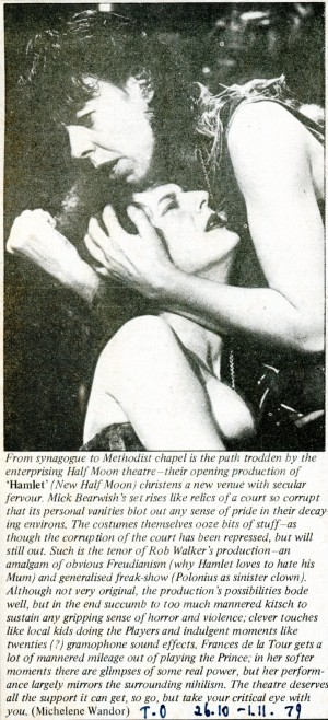 Hamlet Review - Michelene Wandor, Time Out, 26th Oct, 1979.