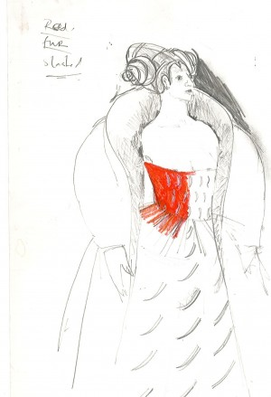 Hamlet, costume drawing Iona McLeish, Gertrude (2)