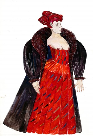 Hamlet, costume drawing Iona McLeish, Gertrude