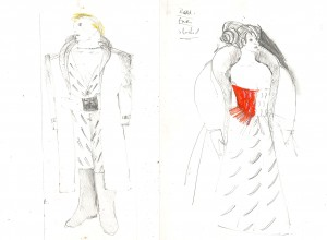 Hamlet. Gertrude and Claudius costume sketch by Iona McLeish
