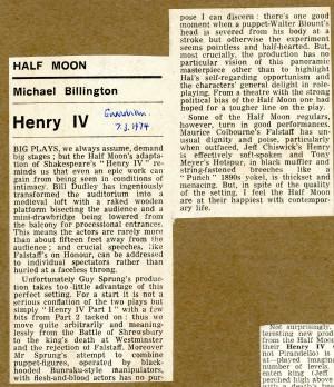 Henry IV Review - Michael Billington, The Guardian, 7th Mar, 1974.