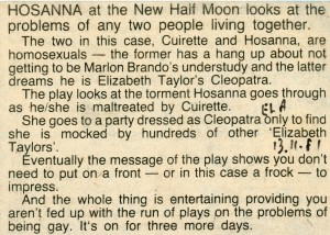 Hosanna - East London Advertiser, 13 Nov 1981