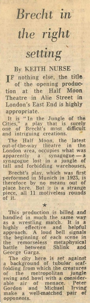 Keith Nurse, Daily Telegraph, 28 Jan 1972