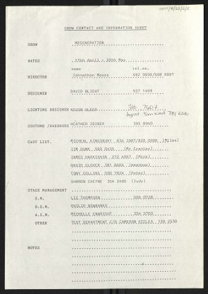 Information Sheet Cast, Crew