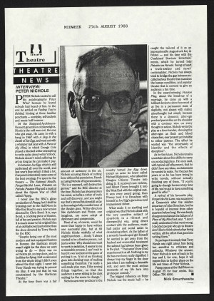 Interview with Peter Nichols Writer, Midweek 25th August 1988, Nick Smurthwaite, Poppy