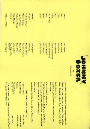 Johnny Boxer Program - Cast List