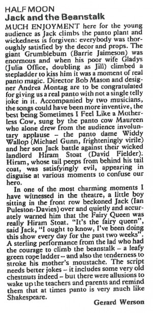 Gerard Werson, The Stage, 14 January 1988