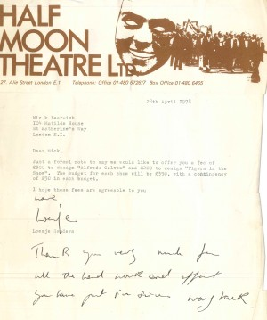 Letter of Offer to design Bearwish - 1978