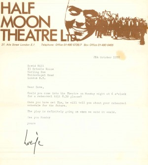Letter to David Hill asking him to rehearsal