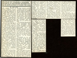 Mayakovsky Review - Malcom Hay, The Observer, 25th Nov, 1979.