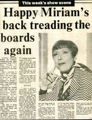 Miriam Karlin in We Can't Pay - We Won't Pay! Article - B.D, East London Advertiser, 29th Sept, 1978.