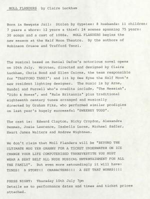 Moll Flanders Press Release