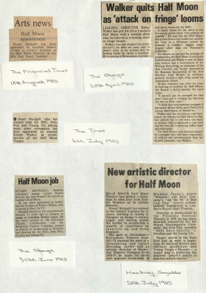Multiple Articles on Robert Walker Leaving and Stuart Mungall starting 1983