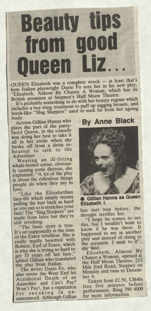Anne Black, East London Advertiser, 7 November 1986