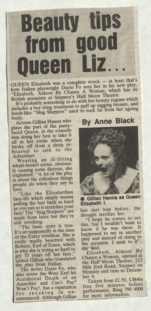 Anne Black, East London Advertiser, 7 November 1986