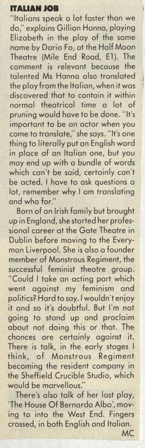MC, Girl About Town, 8 December 1986