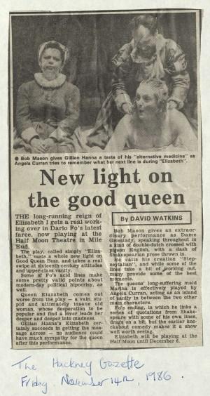 David Watkins, Hackney Gazette, 14 November 1986