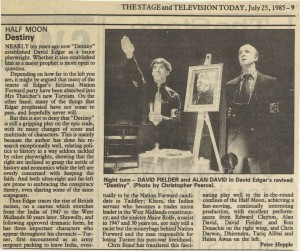 Peter Hepple, The Stage, July 1985,