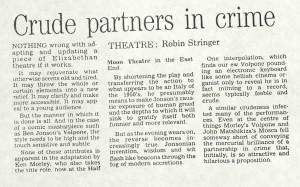Robin Stringer, London Evening Standard, 22 April 1987