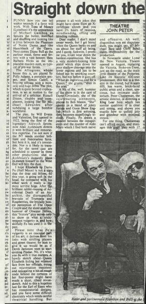 John Peters, Sunday Times, 9 November 1986