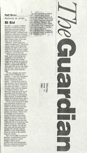 Nicholas de Jongh, The Guardian, 11 June 1988
